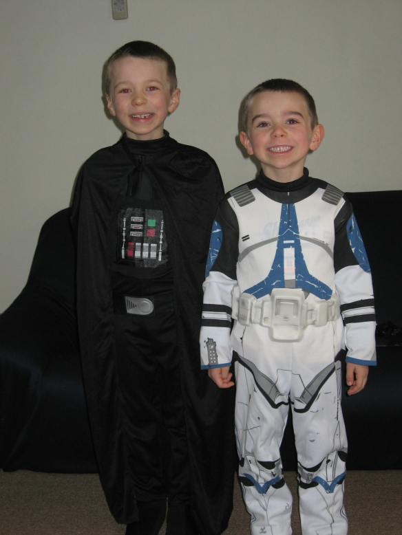 Austin Vader and his buddy Ethan the Clone Trooper