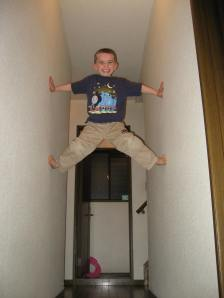 Ethan frequently climbs the walls like this.  This was the highest he's ever gotten.