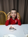 The day after Ethan's party, we had a mini birthday celebration on his real birthday with store-bought cake slices.