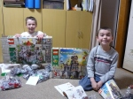 Austin and Ethan get ready to build their Lego sets!