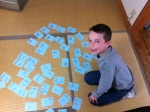 Austin reviewing his fourth grade kanji.