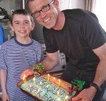 Ethan, Dad, and Pirate Cake!