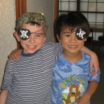 Pirate buddies Ethan and Toshi