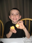 Ethan proudly showing off his hard boiled egg.