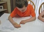 Austin making detailed drawings of his seedlings.
