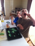 Ethan and Austin couldn't resist nibbling some of the dough before we baked the cookies.