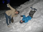 Everyone had a go at sliding down the hill of snow backwards and upside down.