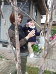 Shota's sweet mom Eri gave him a little help as he tackled his first egg hunt.