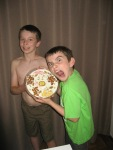 Austin and Ethan are ready to eat their cell cake!!